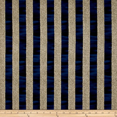(Benartex Oh My Stars Weathered Channel Stripe Linen/Navy Fabric by The Yard)