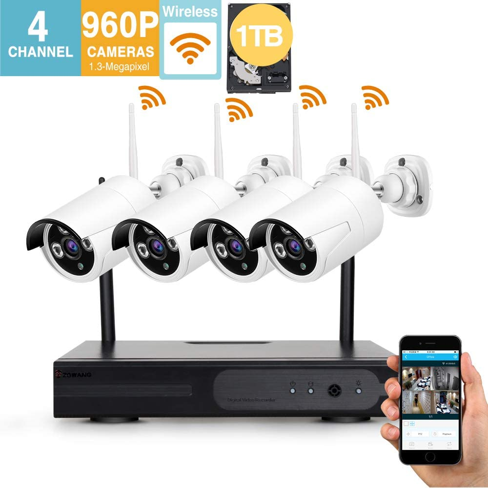 Better Than 720P Video Security System 4 Pack- HD 960P WiFi IP Cameras and 1080P NVR with 1TB HDD WiFi NVR Kits Smart WiFi Wireless Security Cameras System, IR Night Vision and Remote Access