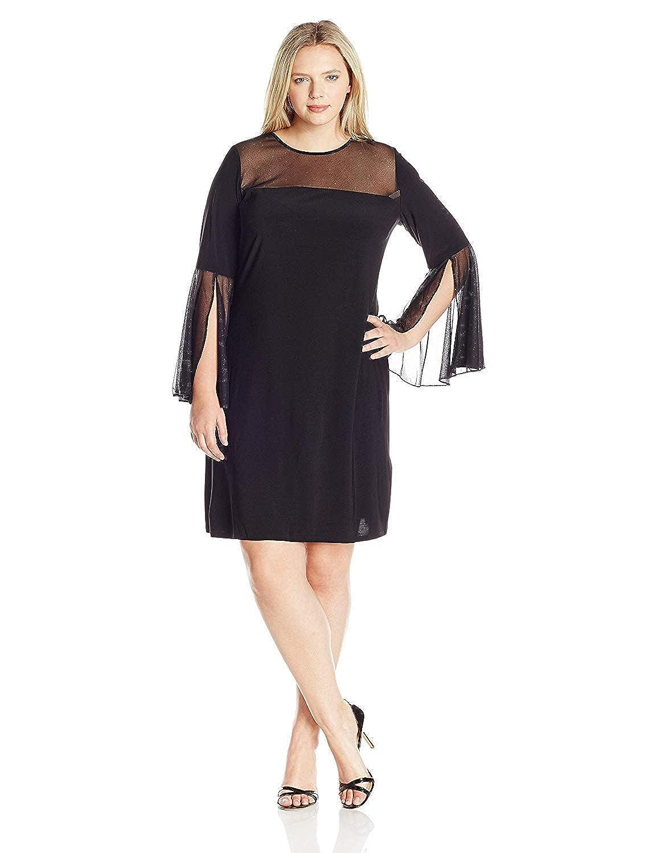 MSK Women\'s Plus Size Woven Bell Sleeve Sparkle Knit