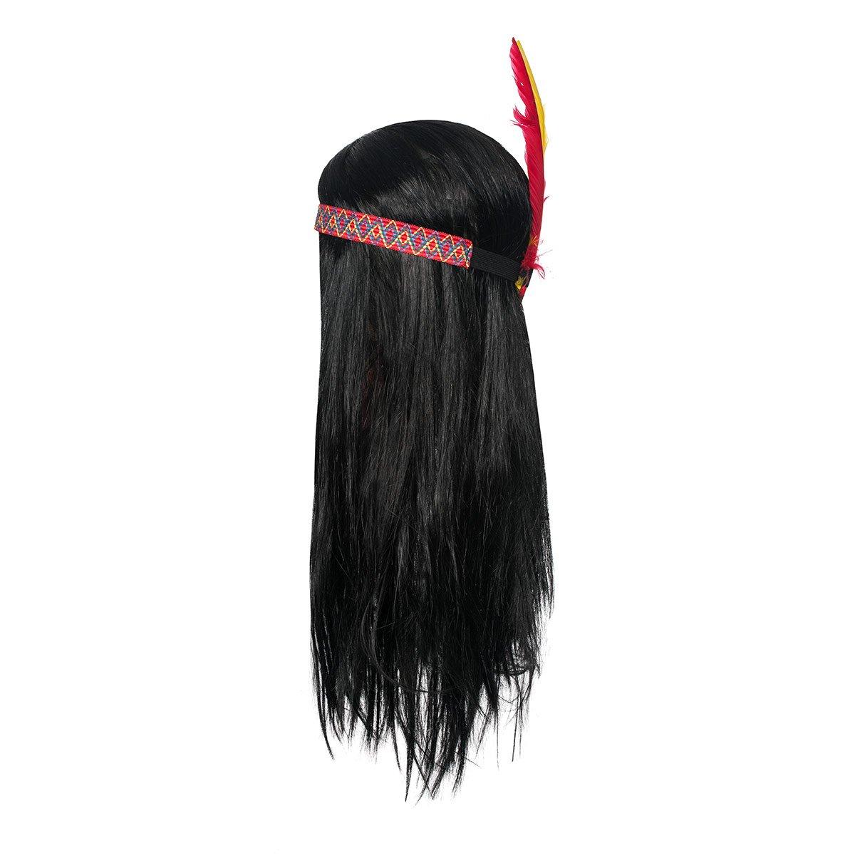 Kost/ümplanet Indianer Per/ücke Kinder Jungen mit Stirnband und Feder-Schmuck Kopfschmuck