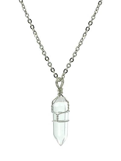 d93988c0a314 Collar con colgante chakra de cuarzo blanco natural cristalino
