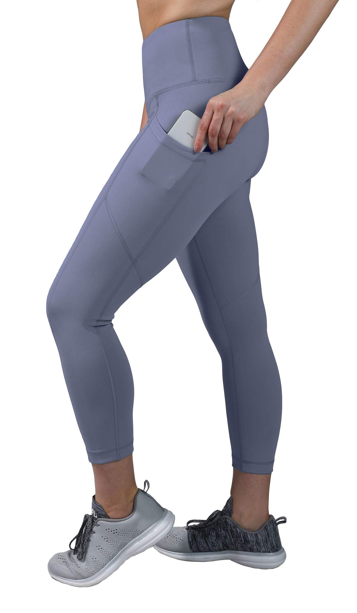 90 Degree By Reflex High Waist Squat Proof Yoga Capri Leggings with Side Phone Pockets - Blue Moon - XS by 90 Degree By Reflex