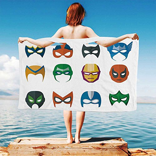 iPrint Superhero Quick Dry Plush Microfiber (Towel+Square Scarf+Bath Towel) Hero Mask Female Male Costume Power Justice People Fashion Icons Kids Display and Adapt to Any Place