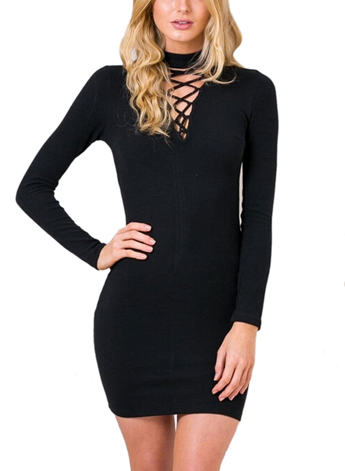 WLLW Women Sexy Long Sleeve Lace Up Deep V Neck Bodycon Dress Mini Dress