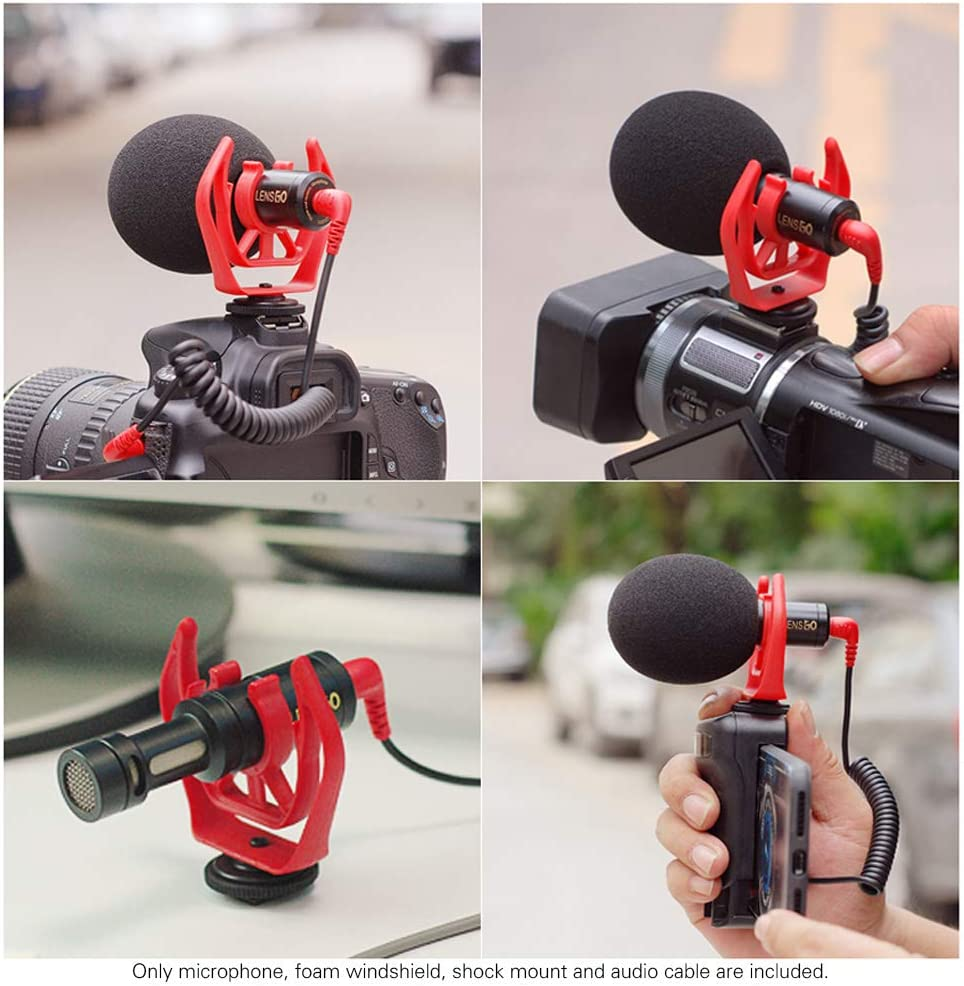 Docooler LENSGO LYM-DM1 Mini micr/ófono de Condensador omnidireccional de Video Micr/ófono de Video Profesional con Cable de Audio de 6 m para Canon Nikon Sony Videoc/ámara con c/ámara DSLR