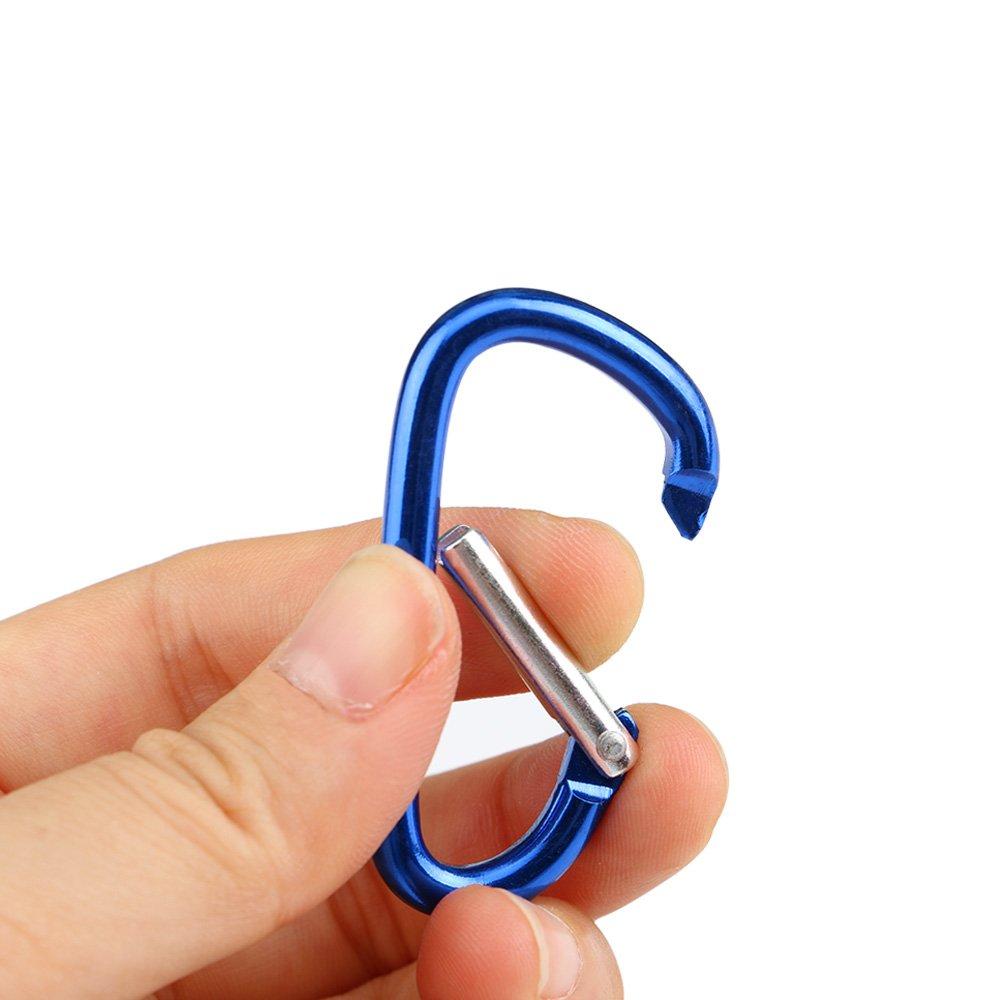 Set di 5 Alluminio Moschettone Clip D-Ring Portachiavi Snap Gancio Vite Chiusura