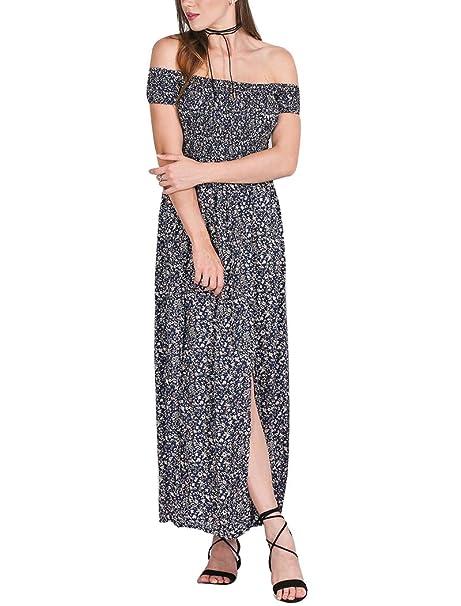 aa3f432985ca LaoZan Vestiti Donna Eleganti Vestiti Estivi Lungo Vestito Spiaggia Spalla  Nuda Boemia Abito con lo Spacco
