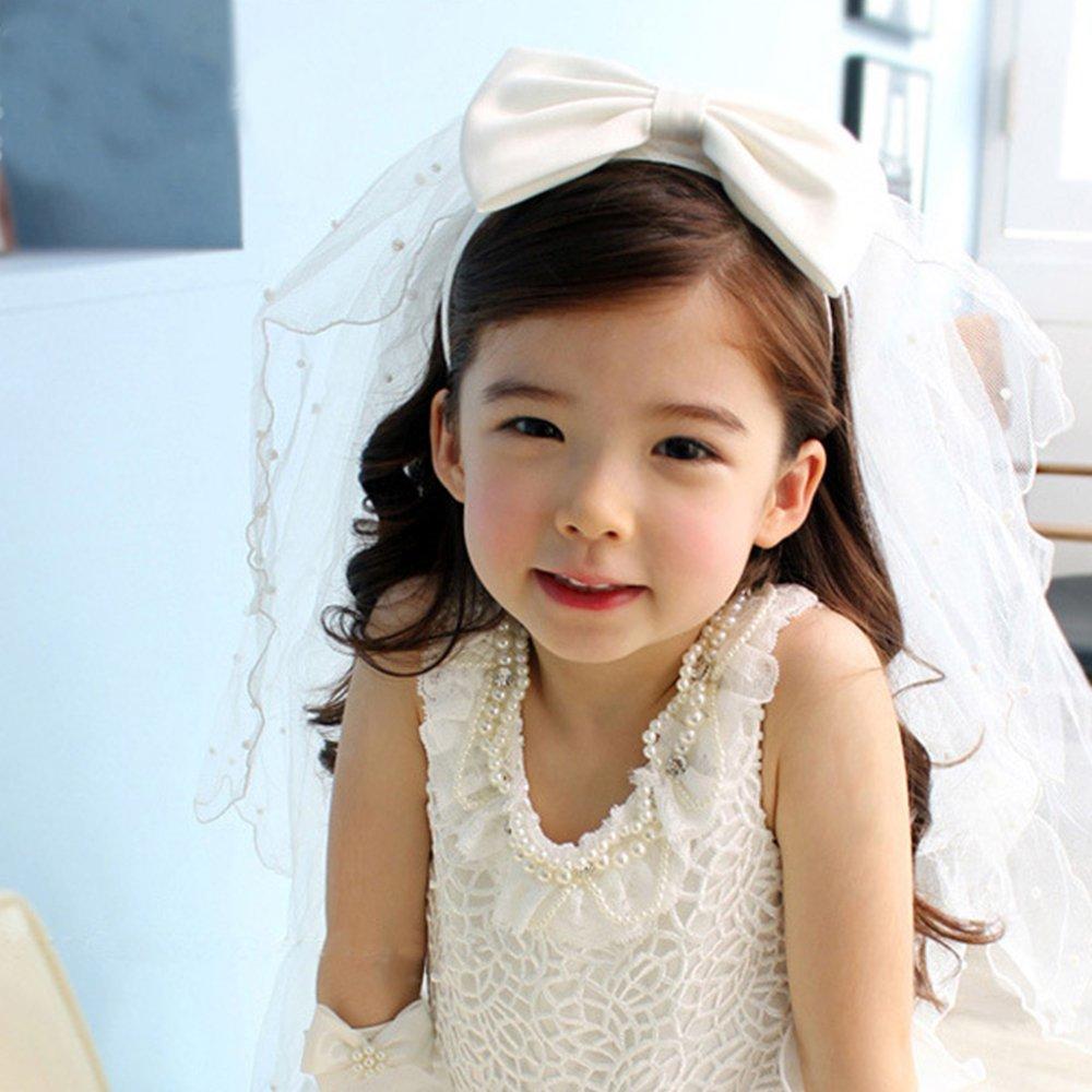 Flower Girl Bowknot Pearls First Communion Wedding Veil Hair Wreath White