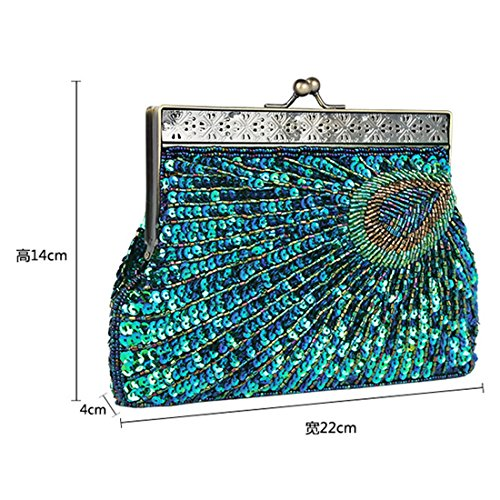 Beaded Handbag Blue Teal Fashion Peacock Designer Evening Peacock Purse Clutch Womens Vintage Sequin Sequin Unusual Antique Elegant 4wOq5UT