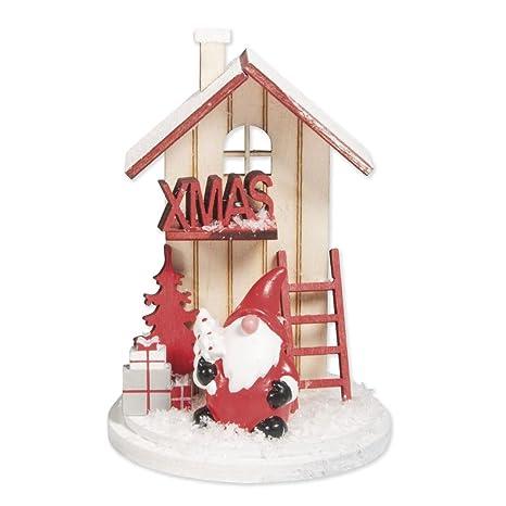 66933c4e3ce Decoraciones miniaturas adornos de madera para navidad 6x9 cm Casa de  Invierno Rojo