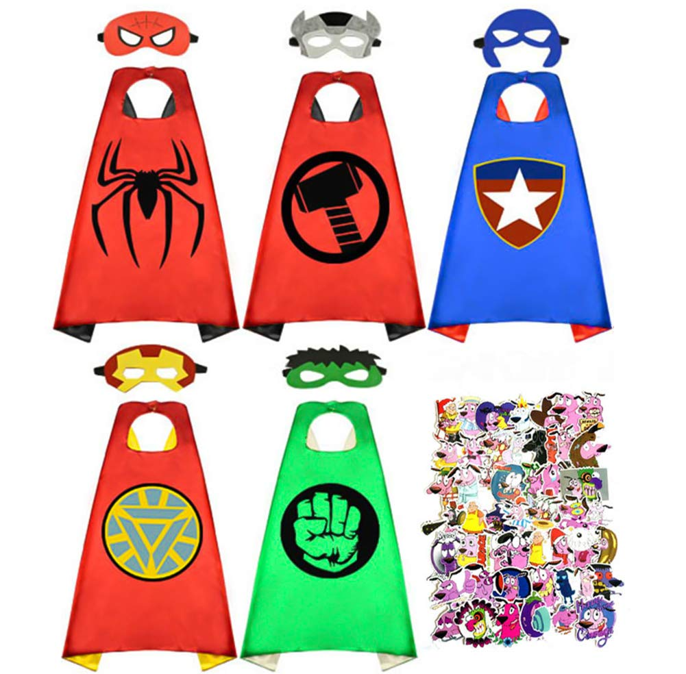 Superhero Capes for Kids,5pcs Satin Capes and Mask Dress Up Costumes with 50pcs Waterproof Stickers for Party Supplies