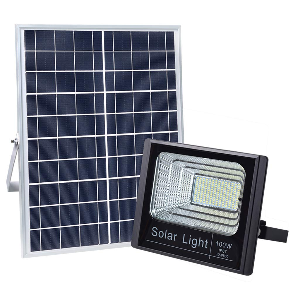 100W Solar Flood Lights Outdoor, JINDIAN 196 LEDs IP67 36000mAH 5m Wire Solar Flood Lights with Remote Control for Sign, Basketball Field, Yard, Garden, Gutter, Pathway Street Area Lighting (1PACK) by JINDIAN