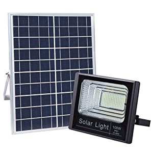 100W Solar Flood Lights Outdoor, 196 LEDs IP67 36000mAH 5m Wire Solar Flood Security Lights with Remote Control for Sign, Basketball Soccer Field, Yard, Garden, Gutter, Pathway Street Area Lighting