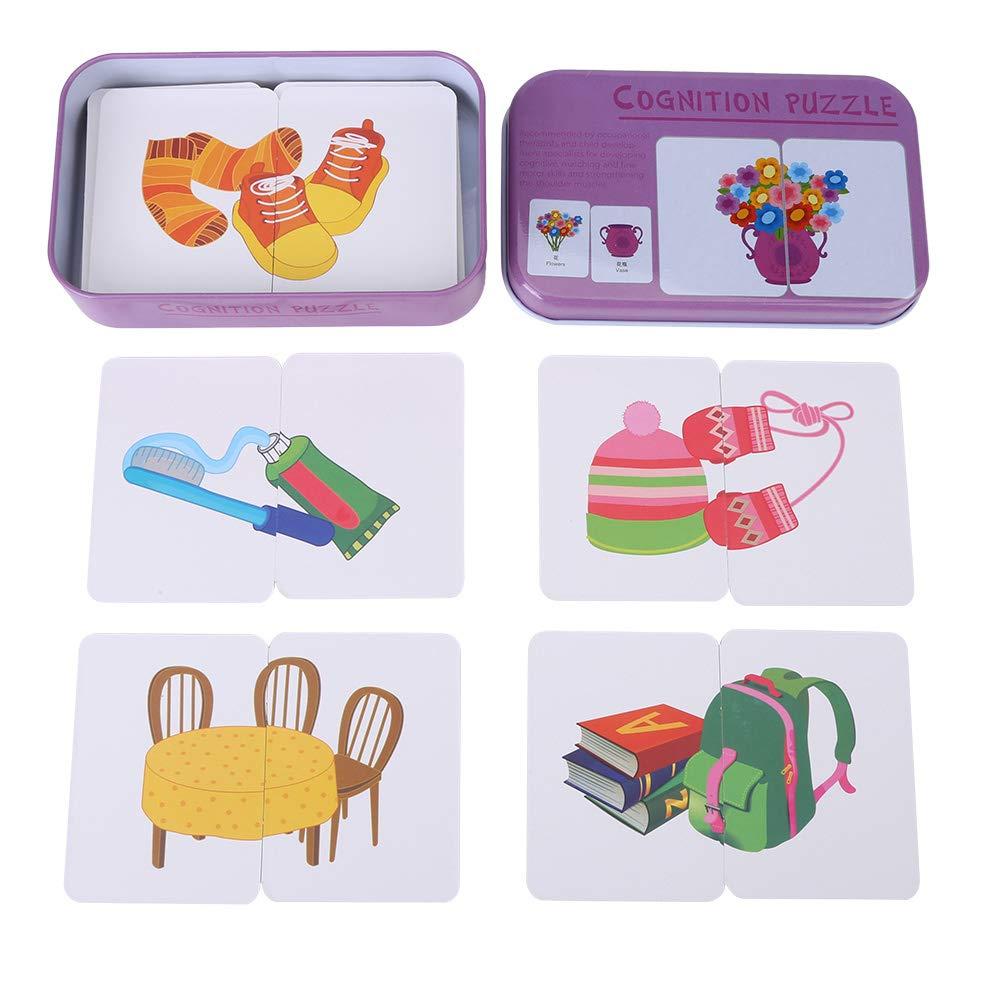 Animals Veicolo//Animale//Frutta//Articoli per la Vita Formazione didattica Flash Cards Baby Early Educational Anti-Tear Puzzle di Corrispondenza Carte Cognitive con Scatola di immagazzinaggio di Ferro