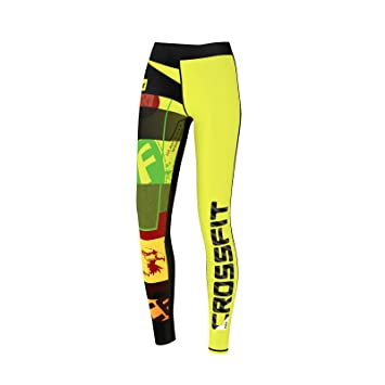cee1402a1b4d41 FDX Womens Crossfit Compression Tights Yoga Gym Grit Ladies Training Pants ( Yellow, Small)