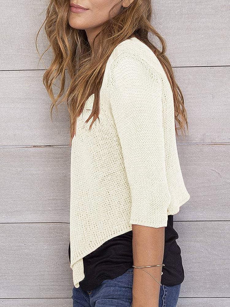 YeMgSiP Womens Sheer Crop Cardigan Shrug Tie Front 3//4 Sleeve Lightweight Bolero Sweaters Short Shawl