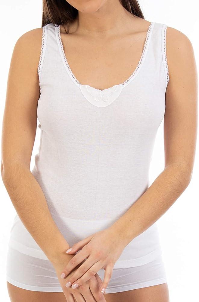 Camiseta Interior Cálida de Mujer L132, Punto Liso de algodón, Tirante Ancho y Cuello de Pico con puntilla y Bordado. Pack Ahorro de 6 Unidades de la Misma Talla y Color. (S):