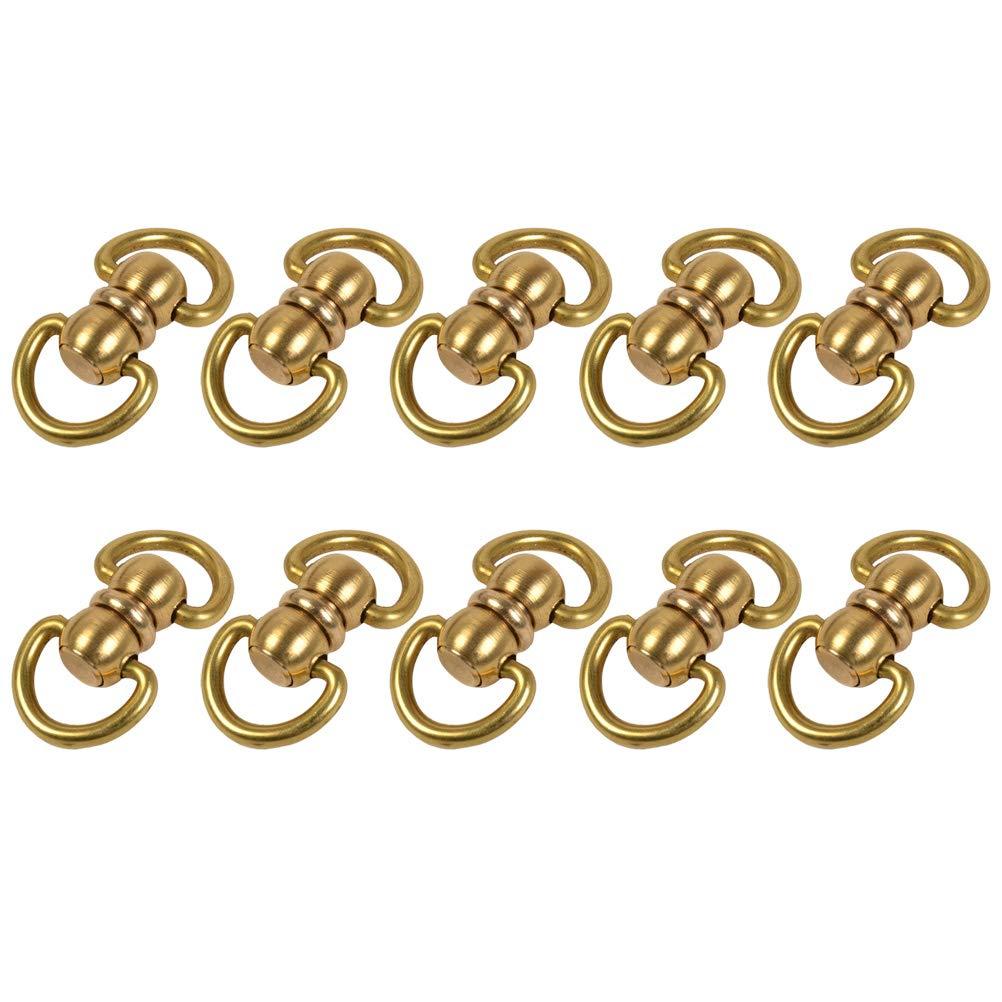 Healifty 10pcs Brass Double Ended Swivel Eye Hook Swivel Rings Size L (Golden)