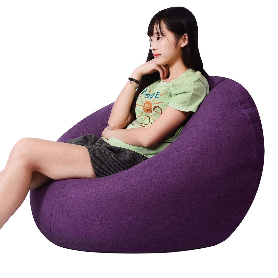 Freahap Bean Bag Chair Lounge Single Seat Sofa Game Chair Memory Foam Filled Couch Removable Cover Blue S