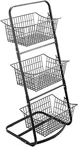 INRLKIT Metal Market Basket Stand, 3 Tier Storage Basket Organizer, Fruit Vegetable Produce Metal Hanging Storage Bin for Kitchen,Bathroom Tower Baskets Stand