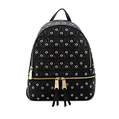 9b3a2723d96f ... reduced michael michael kors womens grommet leather rhea quilted  backpack black one size 3cc42 ba018