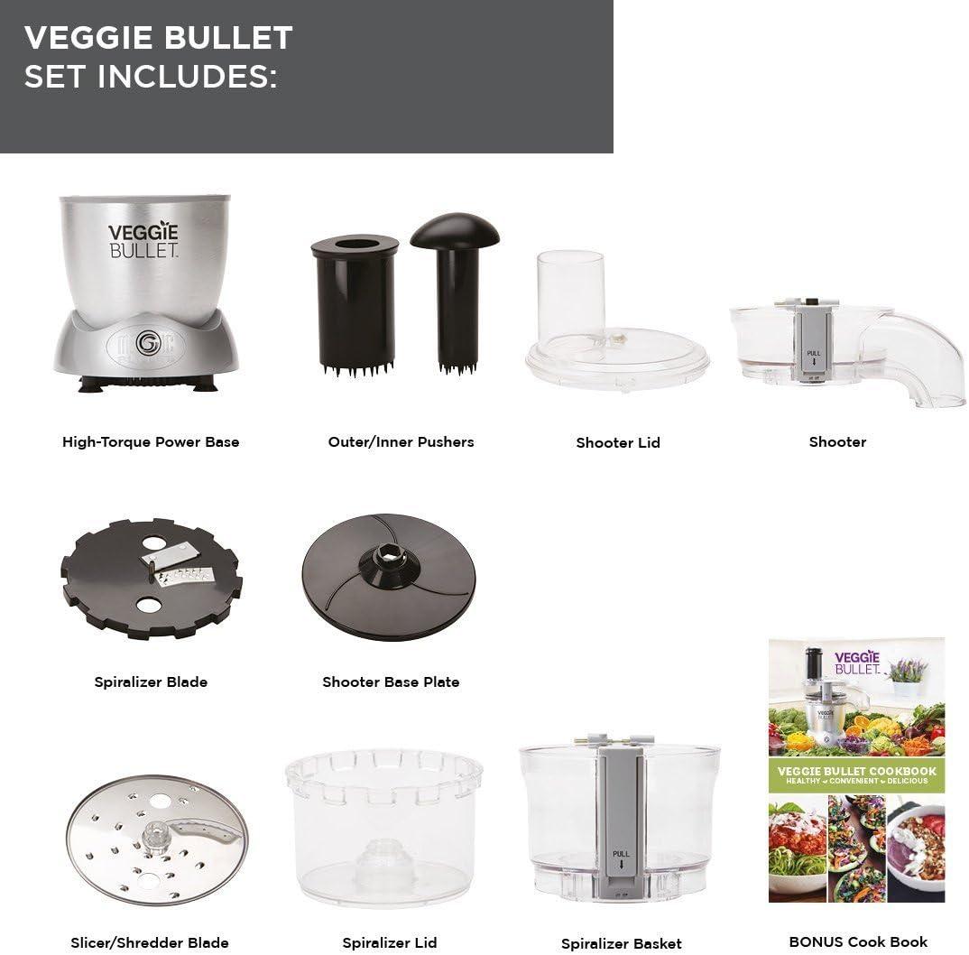 Nutribullet – Veggie Bullet – spiraliseur eléctrica Copa, rallador hacha verduras frutas – Robot de cocina verduras espiral tecnología brevetée – Calentador de espaguetis Vegan con recetas: Amazon.es: Hogar