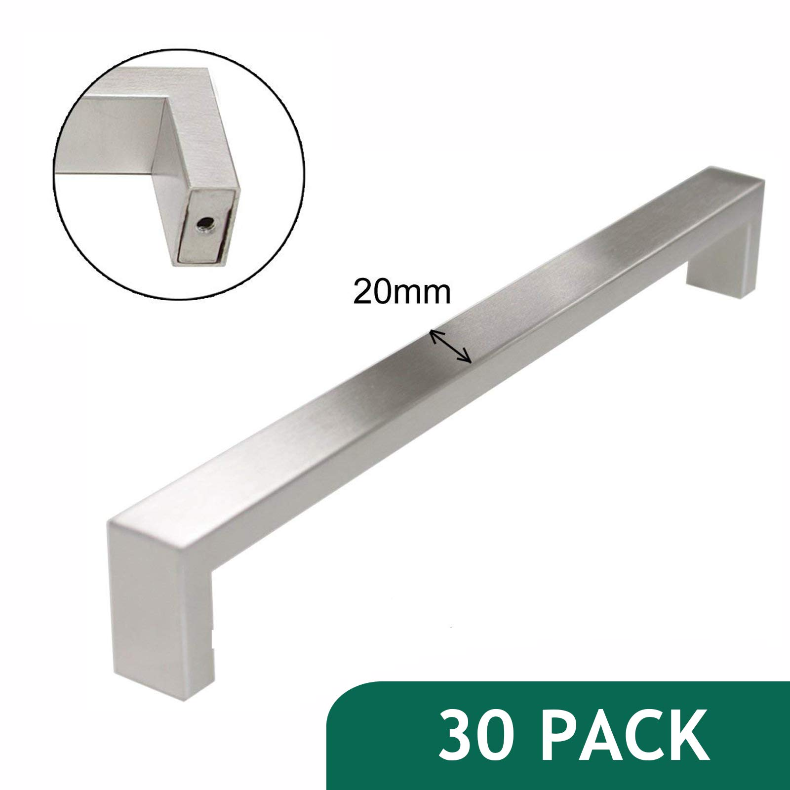 30 Pack-Probrico Stainless Steel Furniture Drawer Pulls 10'' Hole Centres Long Cabinet Handles Brushed Nickel 10-1/5'' Overall Length