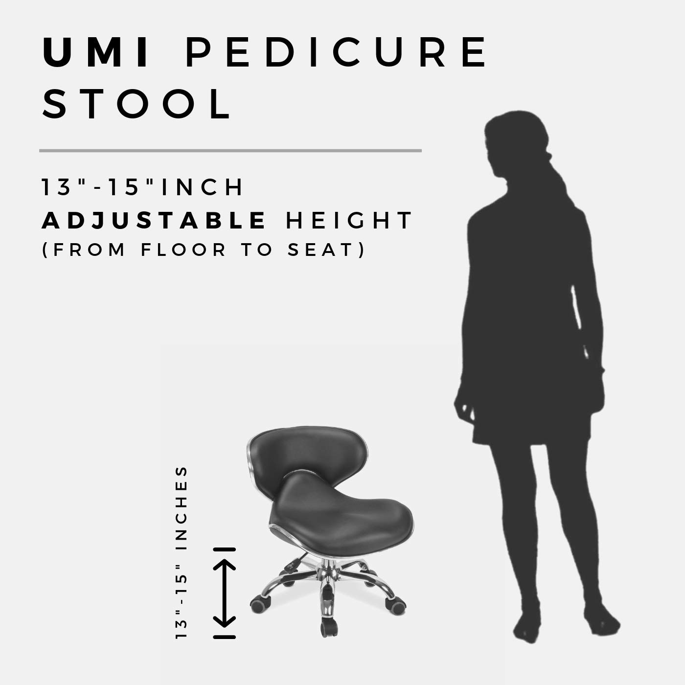 B078Z353NR MAYAKOBA SET OF 4 Nail Salon Pedicure Stool UMI BLACK Pedicure Chair Short Adjustable Comfort Pneumatic Pump Salon Furniture & Equipment 41-T0XJmvkL