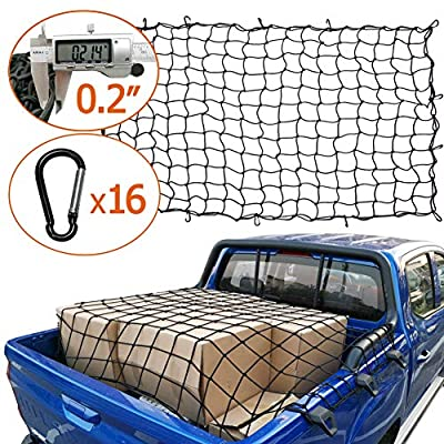 AASHADEL 4'x6' Bungee Gargo Net Stretches to 8'x12', Tangle-Free 16 Pcs Clip Carabiner, Small 4