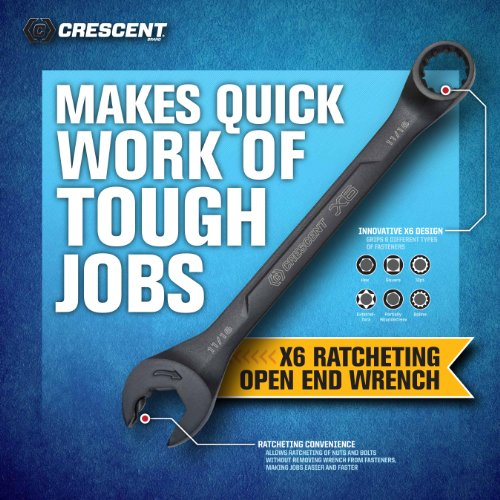 Crescent CX6RWM7 X 6 MM Combination Wrench Set with Ratcheting Open-End and Static Box-End, 7-Piece by Apex Tool Group (Image #3)