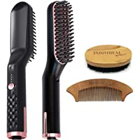 Beard and Hair Straightener Dryer - 4 In 1 Multifunctional Ceramic Non-Stick Heated Hair And Beard Brush Straightener Comb For Man & Woman With AU Power Plug. Bundled With Handy Pocket Comb And Mini Beard Brush. No More Blow Dryer, Straightener Tong & Traditional Comb, All In One.