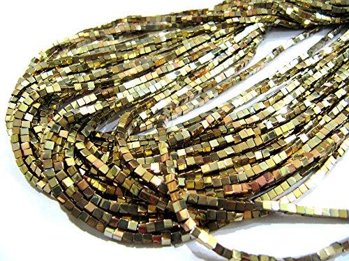 Hematite Cube Beads / Box Shape Golden Color Beads / 2mm Size Beads / Strand 15-16 inch long / Semi Precious Gemstones (Hematite Cube Bead Strand)