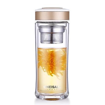 Oneisall - Botella de cristal, vaso de doble pared con infusor de té, tipo termo con filtro, ideal como taza de viaje, casa, oficina, deportes, ...