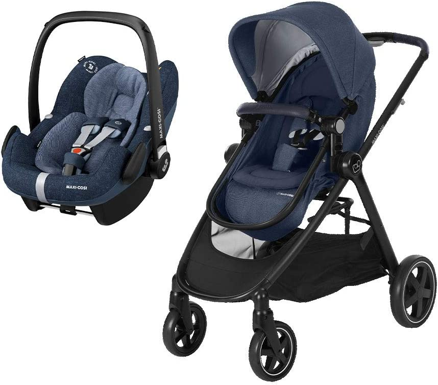 Nomad Sand Silver Frame Maxi-Cosi Zelia 2-1 Pushchair with Rock i-Size Baby Car Seat