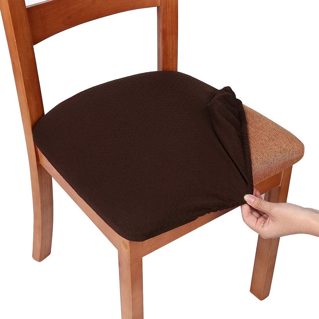 Office Smiry Stretch couvertures de Chaise pour Bureau et Chaise de Table de Salle /à Manger Jacquard protecteurs Coussin dassise Chaise Housses Camel