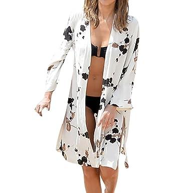 40debd689d7 Halijack Women Summer Beach Cover Up Ladies Print Long Sleeve Chiffon  Shawls Wraps Beachwear Plus Size