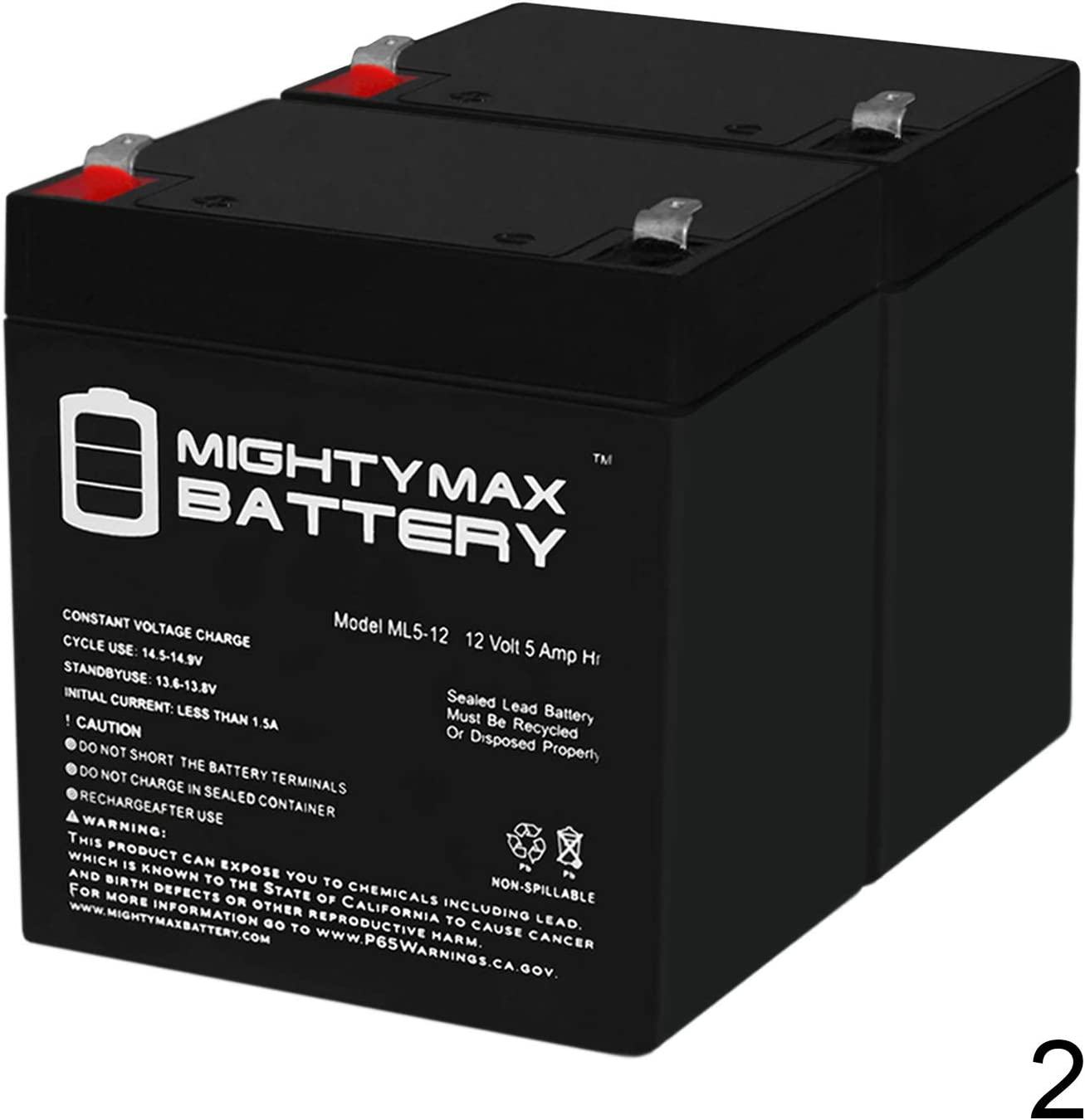 Mighty Max Battery ML5-12 - 12V 5AH Solex BD124 Alarm Back Up DSC Security Panel Replacement Battery - 2 Pack Brand Product