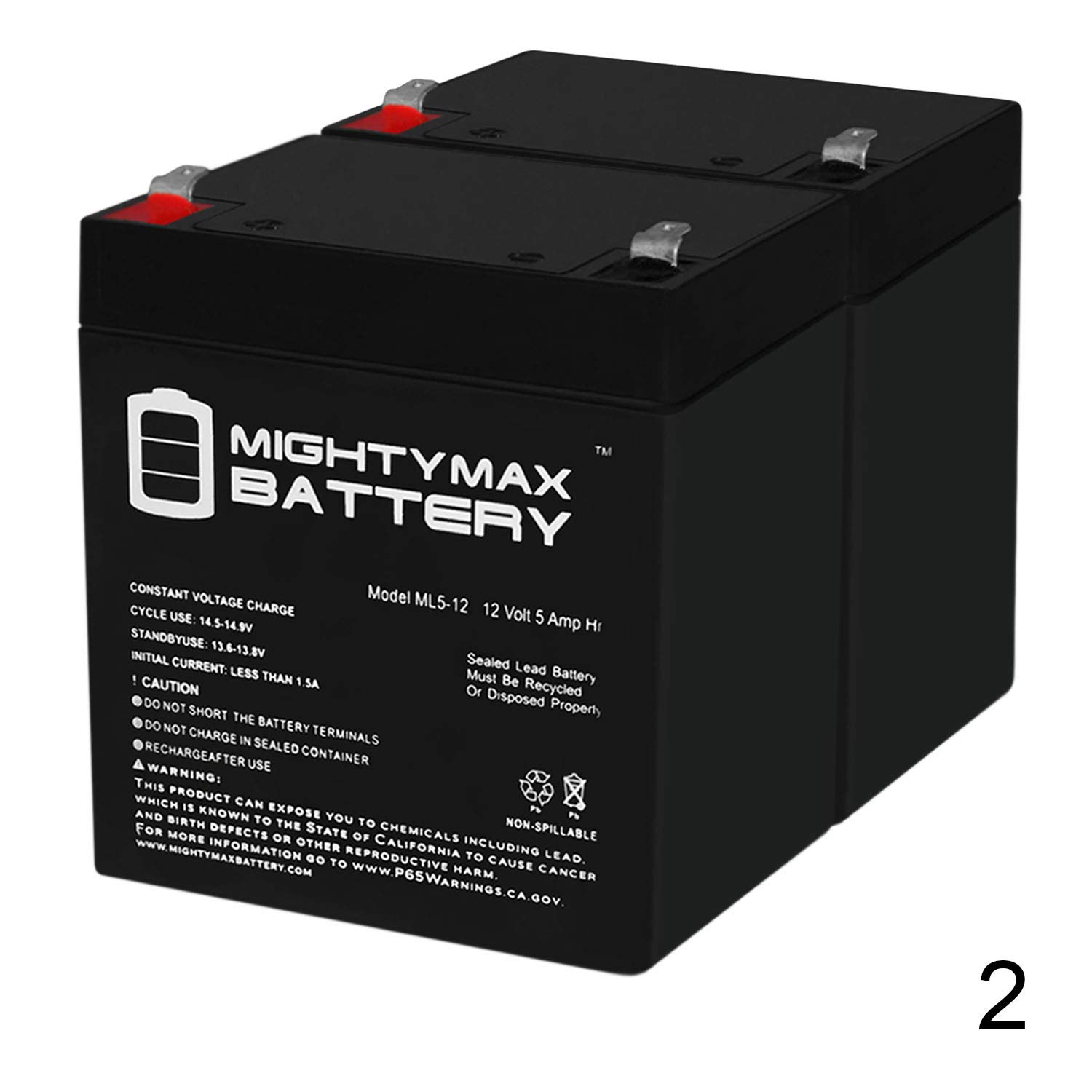 Mighty Max Battery 12V 5AH Battery for Razor E100 E125 E150 E175 Scooter - 2 Pack Brand Product by Mighty Max Battery