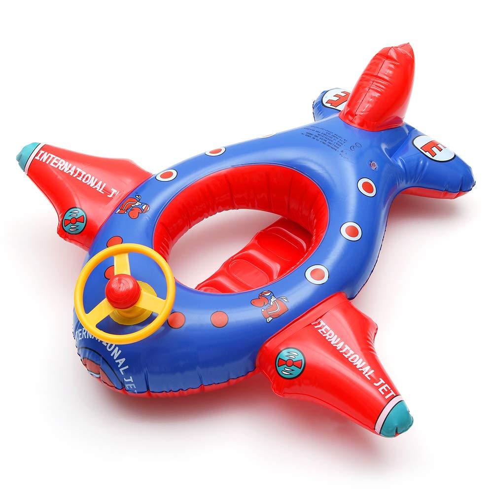QHYK Inflable Niños Flotador, círculo Inflable de la natación del Aeroplano, Asiento del Instructor de natación, manija del Volante, Juguetes ...