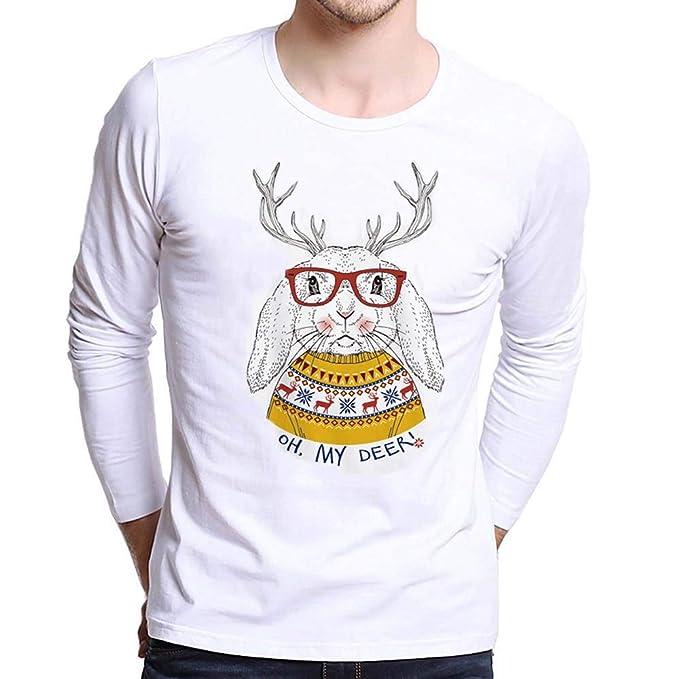 YiYLunneo Pullover Hombre Invierno Tops Hombres Camisas Manga Tallas Grandes Camisetas con Estampado De Navidad Blusa: Amazon.es: Ropa y accesorios