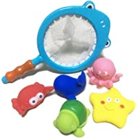 GOVIA Juguetes de baño para niños Pesca bañera pequeños Animales flotantes Juguetes de Ducha Kids Bath Toys Fishing Bathtub Water Toys and Net for Toddlers Floating Animals Shower Toy for Children