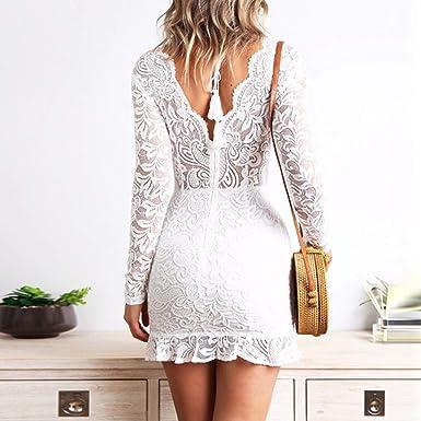 MEIbax seksowna damska sukienka z dekoltem w kształcie litery V, z koronką, z długim rękawem, w kwiaty, elegancka sukienka wieczorowa: Odzież