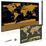 Scratch Off World Map by Alianza Products. Travel Log Map with Country Flags and US States Outlined 33'' x 23''. Free World Map (16.5'' x 11.8'') Scratch Tool and Tube Included. Great Gift for Travelers