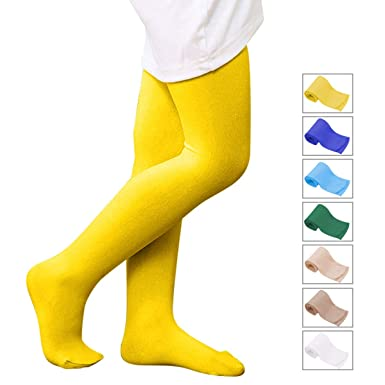 5f8455de2 Zando Girls Soft Ballet Dance Footed Tights Kids Stretchy Casual Leggings School  Uniform Tights for Toddler Children 1 Pair Yellow Small  Amazon.co.uk  ...