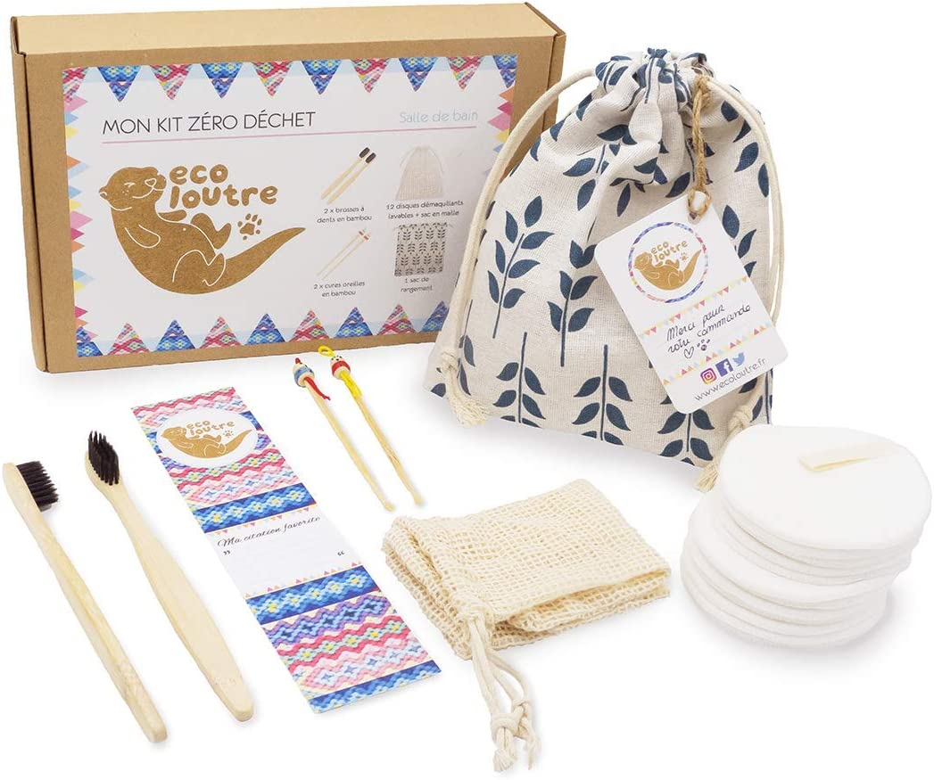 Ecoloutre® – Mon Kit Zéro Déchet  Salle de Bain (brosse à dents en bois  bambou, disque coton démaquillant lavable, nettoyant cure oreille, coffret