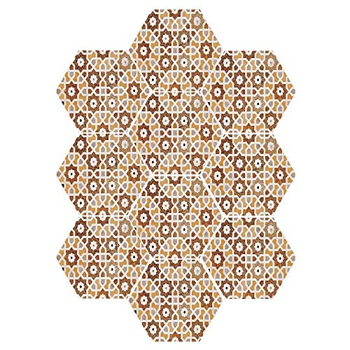 C COABALLA Antique Durable Hexagon Ceramic Tile Stickers,Detail of Inlay and Geometric Carvings Asian Taj Mahal Tomb Architecture Decorative for Living Room Kitchen,9