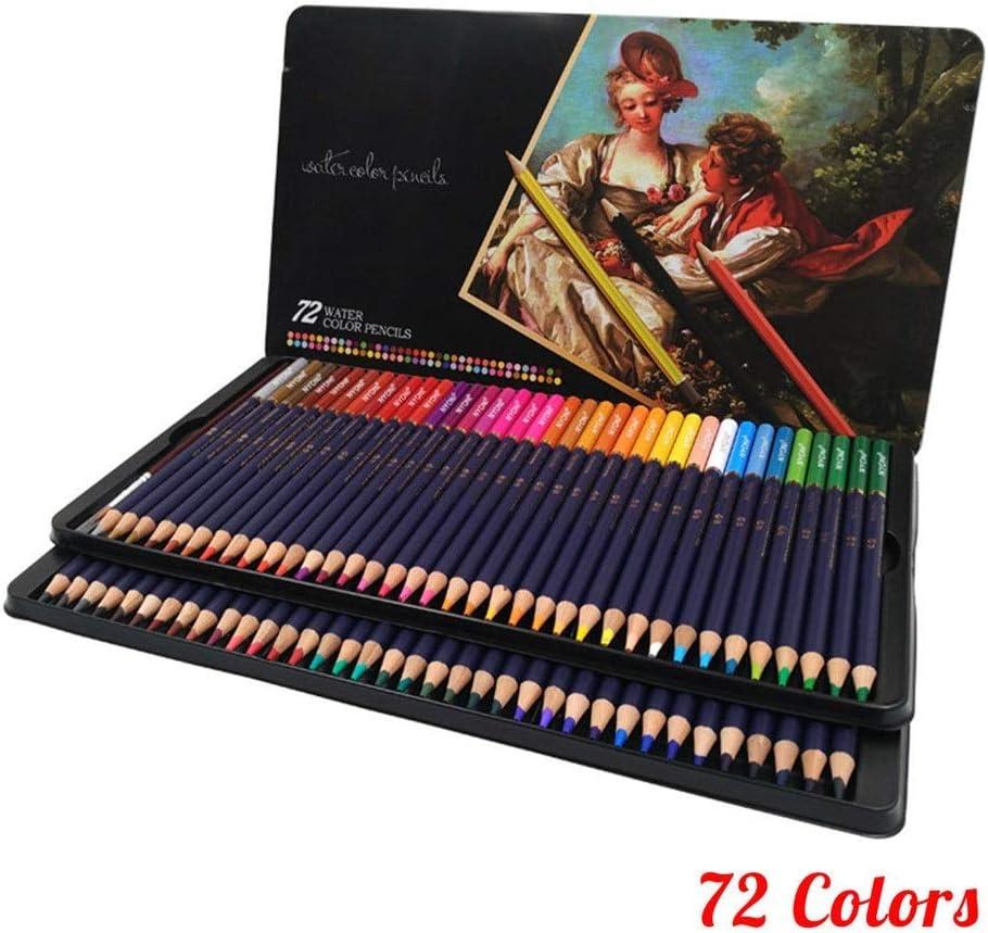 アートセット 12/24/36/48/72色鉛筆ドライカラーリングは鉛筆水溶絵画 文房具 絵具セット (色 : Multi-colored, Size : 72c)