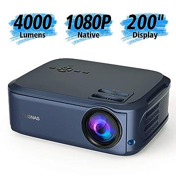 Proyector, BOSNAS 5000 Lúmenes Proyector Full HD Soporta 1920 x ...