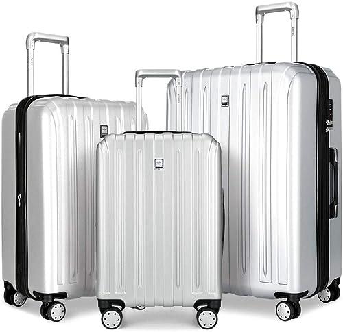 COOMEE Luggage Sets 3PCS Unic Design Durable PC Spinner Hardshell Lightweight Suitcase TSA Lock,Silver