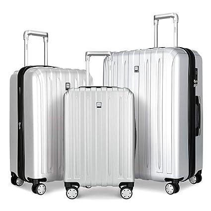 FOCHIER Durable PC Maletas De 3 Piezas para Maletas con Ruedas TSA Lock Spinner 20In24In28In,Plata